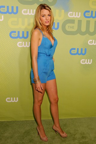 Blake Lively in blue silk Jumpsuit