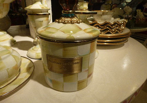 Mackenzie-Childs parchment check jar