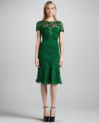 Front Burberry Green Lace Dress