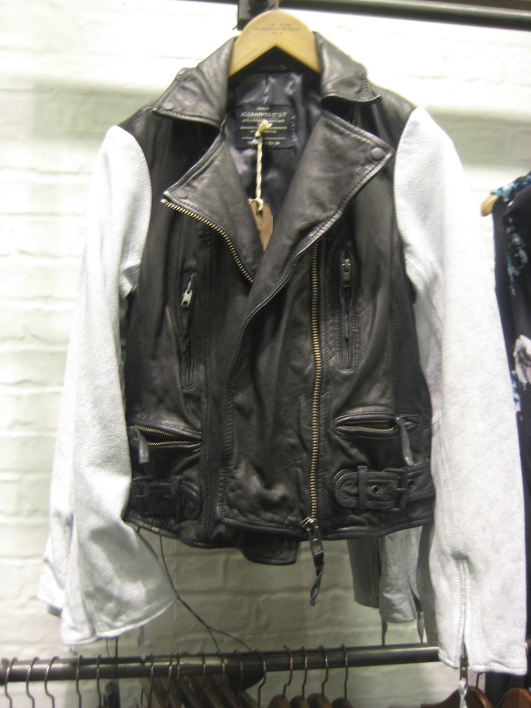 All Saints Black Leather Jacket with White Sleeves