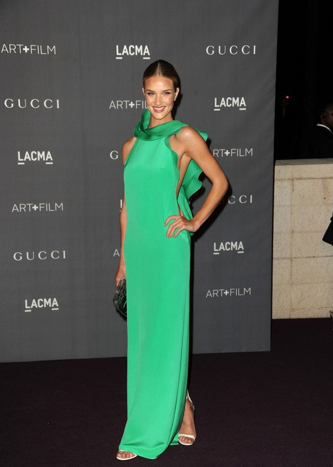 Gucci Mint Green Ruffle Dress Rosie Huntington Whiteley at Lacma art and gala