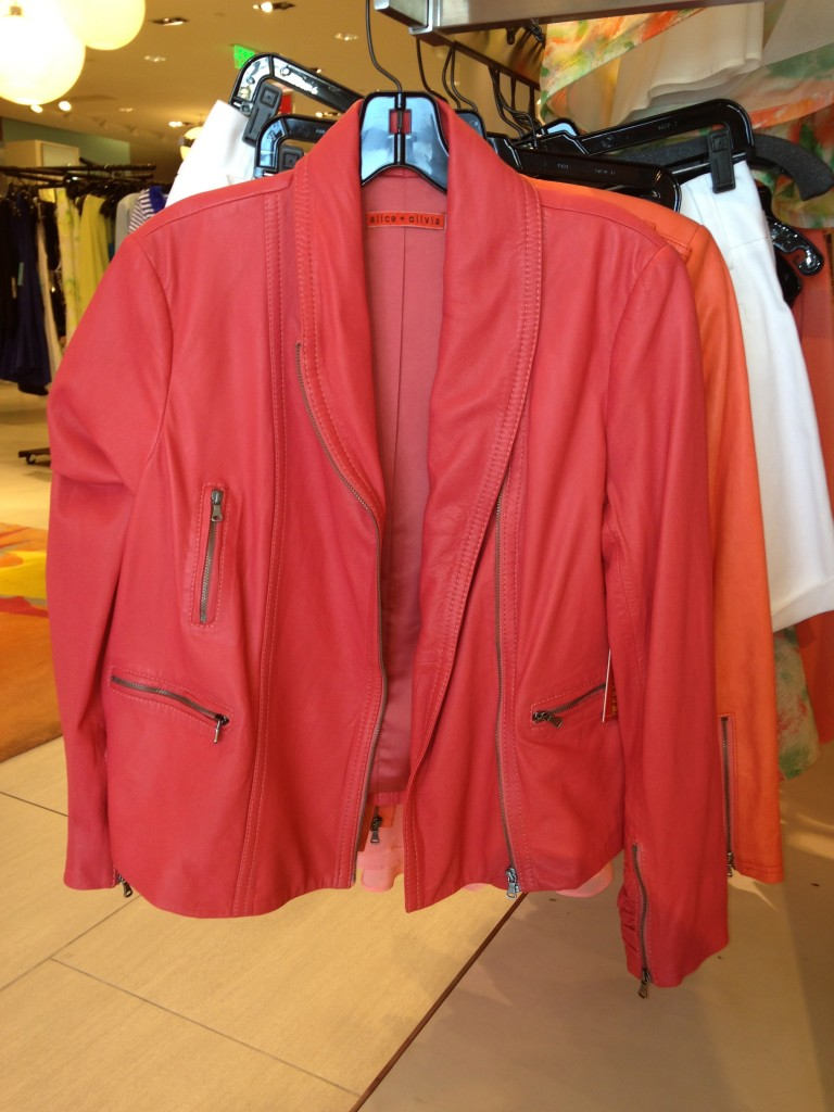 Coral Pink Leather Jacket by Alice + Olivia available at Neiman Marcus