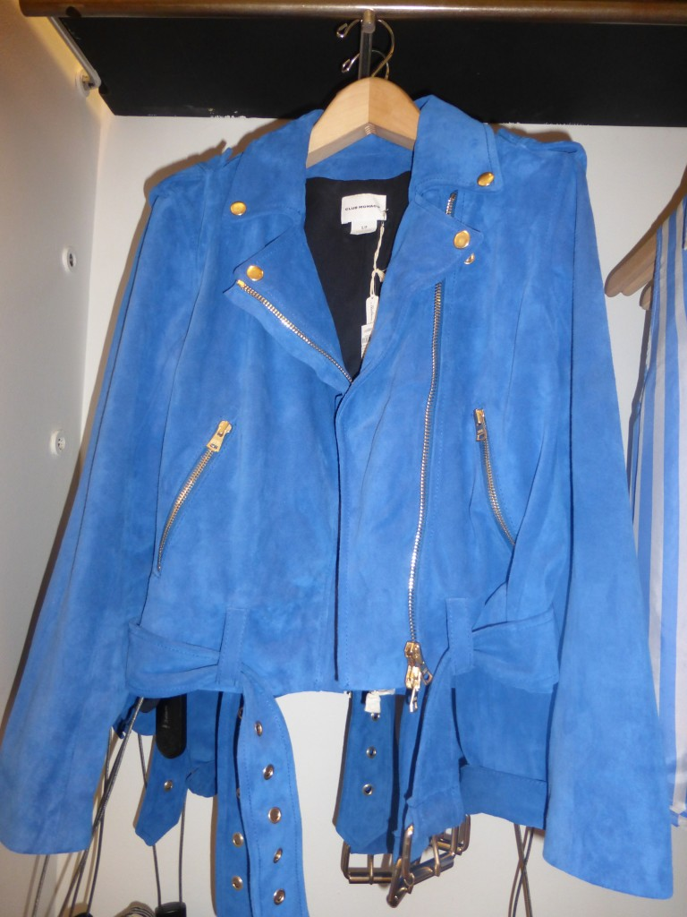 Club Monaco Blue Suede Jacket with Gold Accents