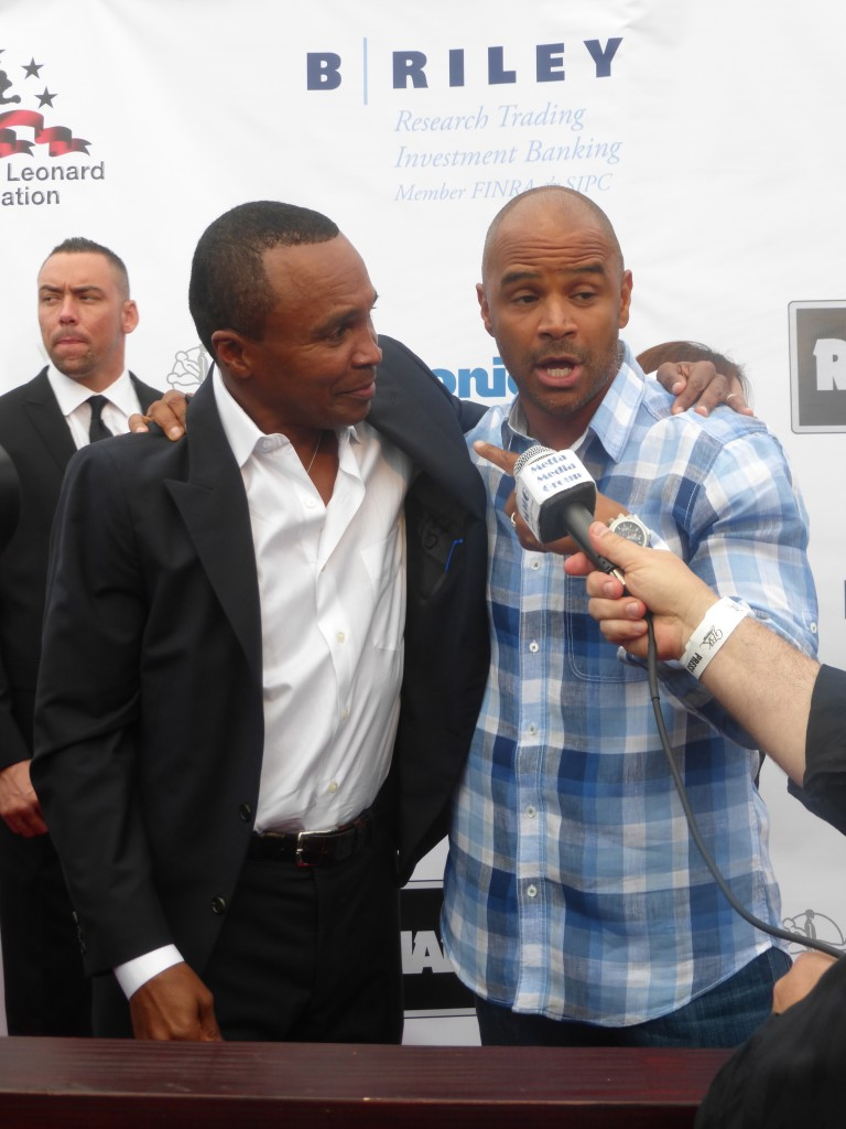 """Dondre Whitfield with Sugar Ray Leonard at the Santa Monica Pier Charity Fight Night """"Big Fighters Big Cause"""" Event"""
